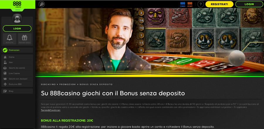 bonus senza deposito 888