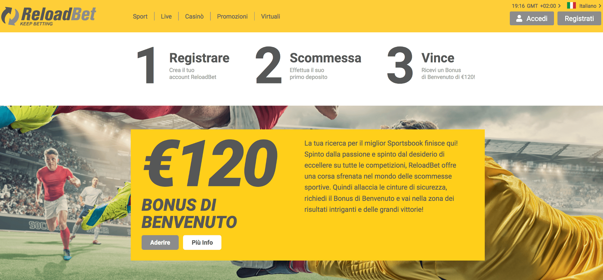Reloadbet sito scommesse non aams