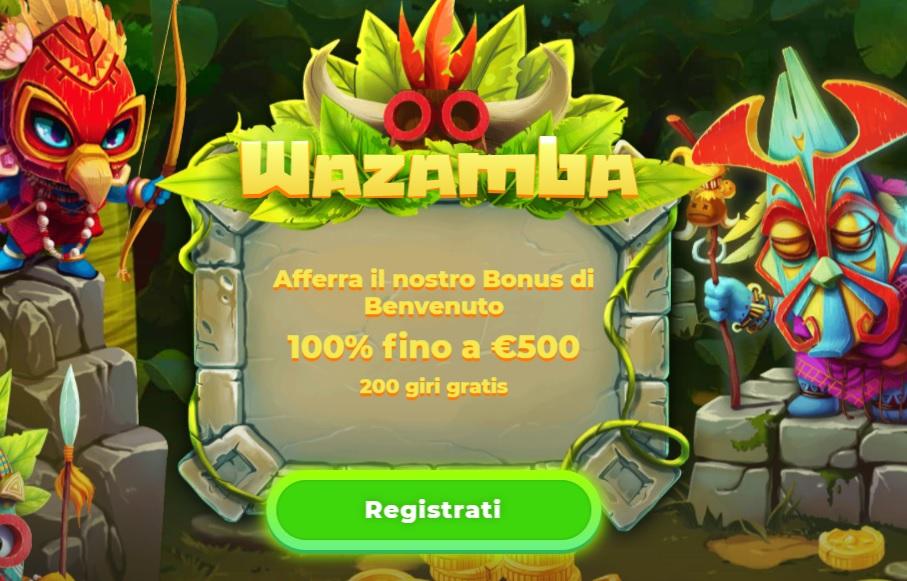 Bonus di Benvenuto Wazamba Casino Curacao : 100% fino a 500€ + 200 Giri Gratis