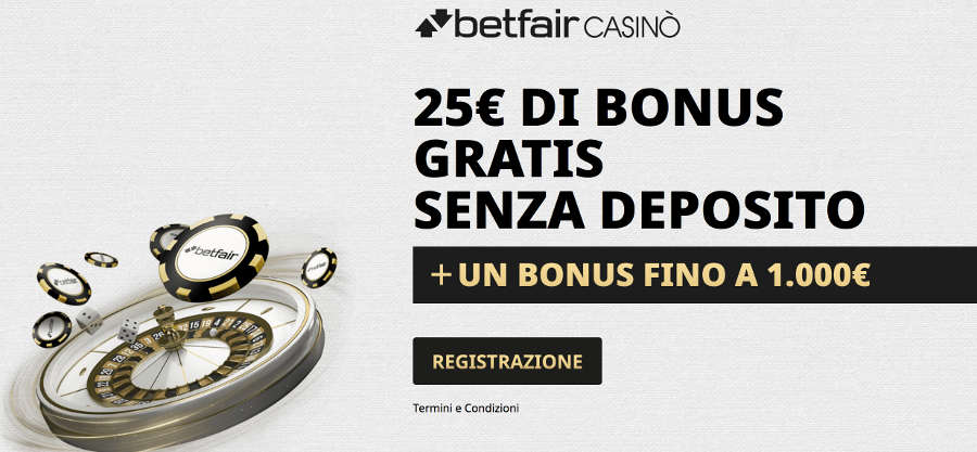 betfair bonus senza deposito